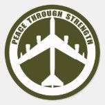 Peace Through Strength Classic Round Sticker