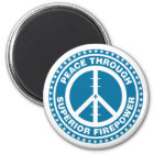 Peace Through Superior Firepower - Blue Magnet