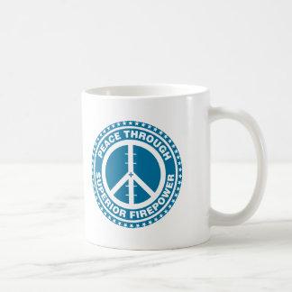 Peace Through Superior Firepower - Blue Coffee Mugs