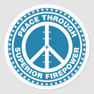Peace Through Superior Firepower - Blue Stickers