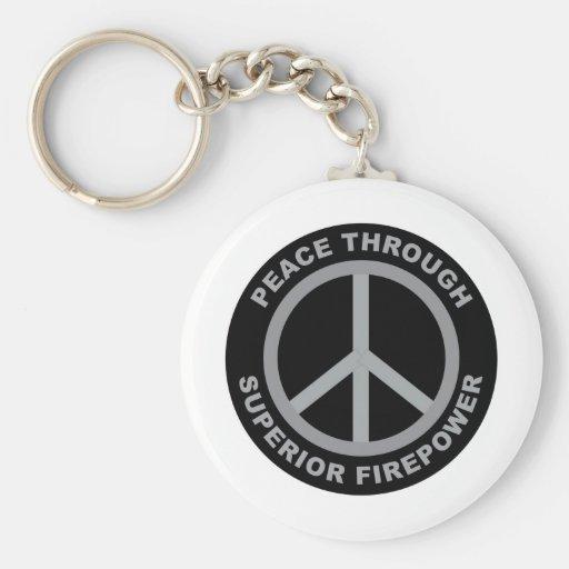 Peace Through Superior Firepower Keychains