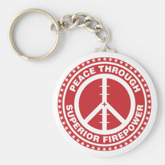 Peace Through Superior Firepower - Red Keychain