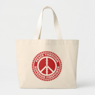 Peace Through Superior Firepower - Red Large Tote Bag