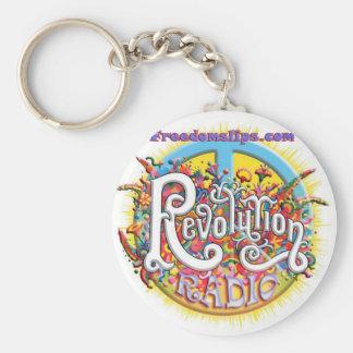 Peace thru revolution basic round button keychain