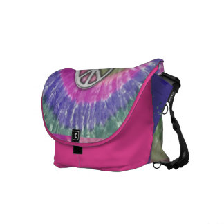 peace tie dye spiral courier bag