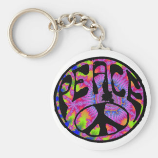 Peace - Tie Dyed Background Keychain