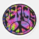 Peace - Tie Dyed Background Round Sticker