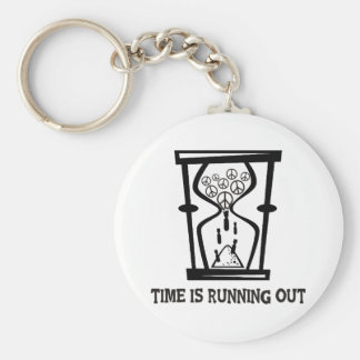 Peace - Time Is Running Out Basic Round Button Keychain