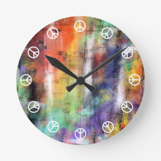 Peace Time ( white on colorful graffiti grunge ) Round Clock