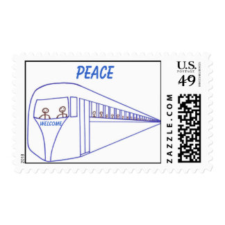 Peace train, outline art, postage stamp