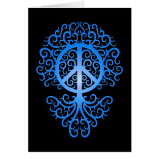 Peace Tree, blue and black Card