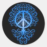 Peace Tree, blue and black Sticker