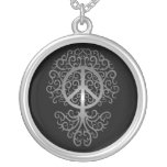Peace Tree, dark Round Pendant Necklace