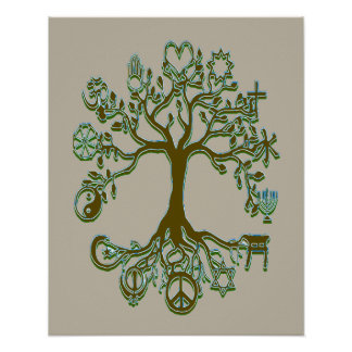 Peace Tree - Gold, Tan, Black Poster