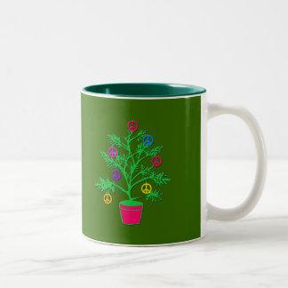 Peace Tree Holiday Tree with Peace Symbols Two-Tone Coffee Mug