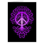 Peace Tree, purple and black Greeting Card