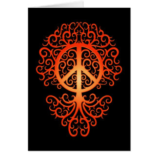 Peace Tree, red and black Card