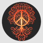Peace Tree, red and black Round Stickers