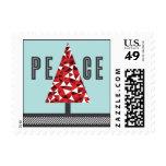 Peace Tree - Red & Light Blue Postage