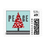 Peace Tree - Red & Light Blue Postage Stamps
