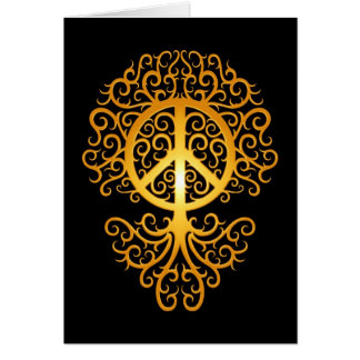 Peace Tree, yellow and black Card