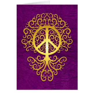 Peace Tree, yellow and purple Card