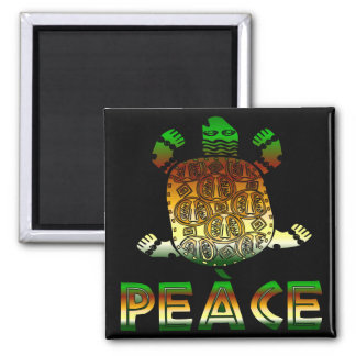 Peace Turtle 2 Inch Square Magnet