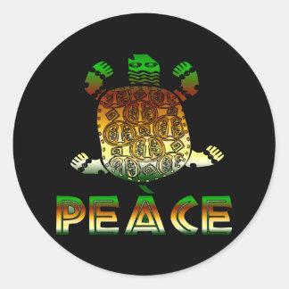 Peace Turtle Classic Round Sticker
