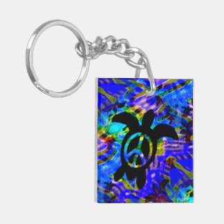 Peace Turtle Double-Sided Square Acrylic Keychain