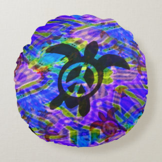 Peace Turtle Round Pillow