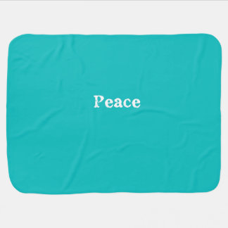 Peace Typography in Turquoise and White Swaddle Blanket