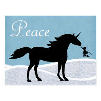 Peace Unicorn and Fairy Winter Holiday Greeting Postcard