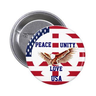 Peace,Unity,Love,USA_Button Pinback Button