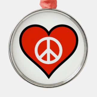 Peace Valentine Round Metal Christmas Ornament