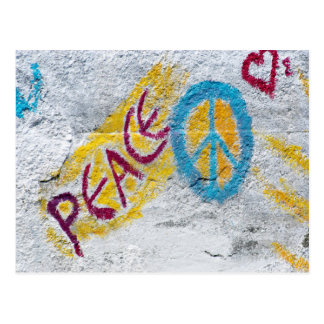 Peace wall painting postcard