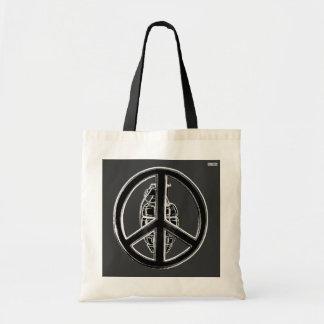 Peace & War (Black) Tote Bag