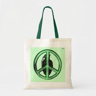 Peace & War (Green/Gun Metal Grey) Tote Bag