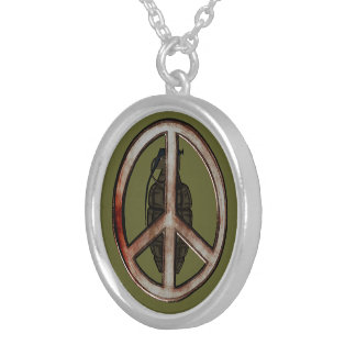 Peace & War Silver Plated Necklace