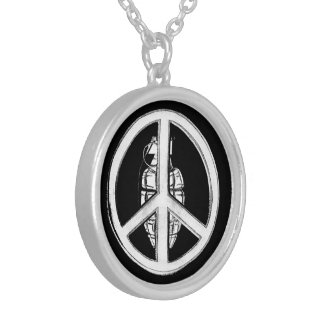 Peace & War (White) Silver Plated Necklace