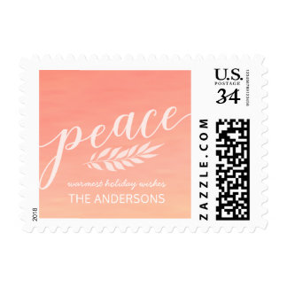 Peace Watercolor Christmas Hand Painted Script Postage