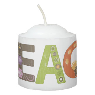 Peace Whimsical Floral Modern Pattern Votive Candle