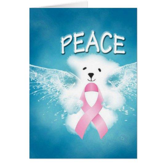 PEACE White Angel Teddy Bear Pink Ribbon Card