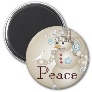 Peace - White Dove and Steampunk Snowman Kids Magnet