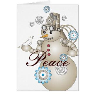 Peace: White Dove & Steam-punk Snowman Kids Cards
