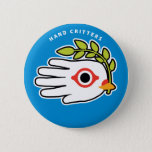 Hand shaped Peace White Dove with Olive Branch Button