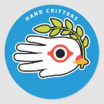 Hand shaped Peace White Dove with Olive Branch Classic Round Sticker