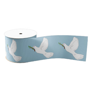 Peace White Dove with Olive Branch Gift Ribbon