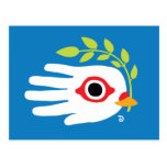 Hand shaped Peace White Dove with Olive Branch Postcard