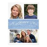 Peace Winter Blue Holiday Triple Photo Flat Card