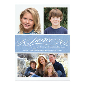 Peace Winter Blue Holiday Triple Photo Flat Card